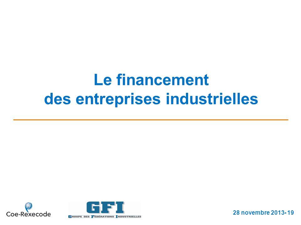 Le financement des entreprises industrielles 28 novembre 2013- 19