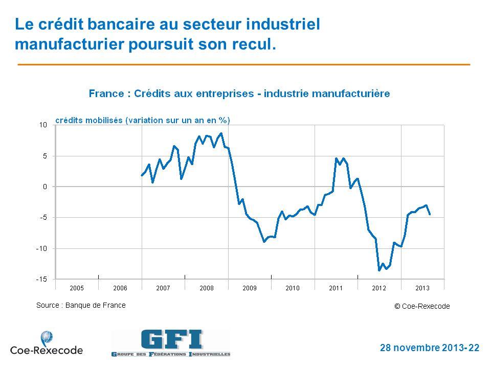 Le crédit bancaire au secteur industriel manufacturier poursuit son recul. 28 novembre 2013- 22