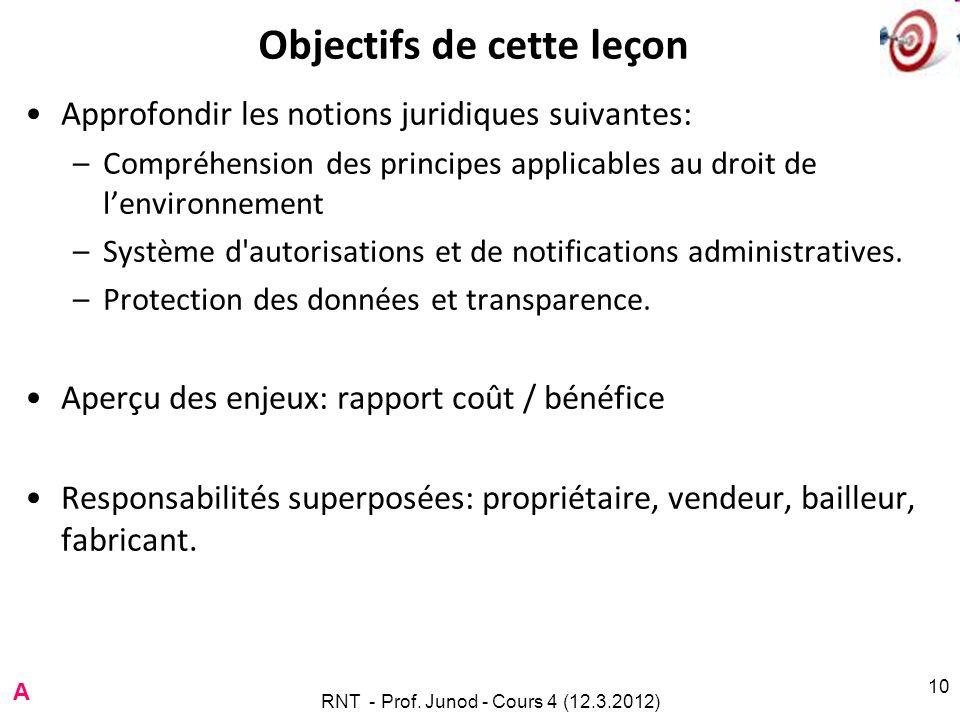 RNT - Prof. Junod - Cours 4 (12.3.2012) 10 Objectifs de cette leçon Approfondir les notions juridiques suivantes: –Compréhension des principes applica