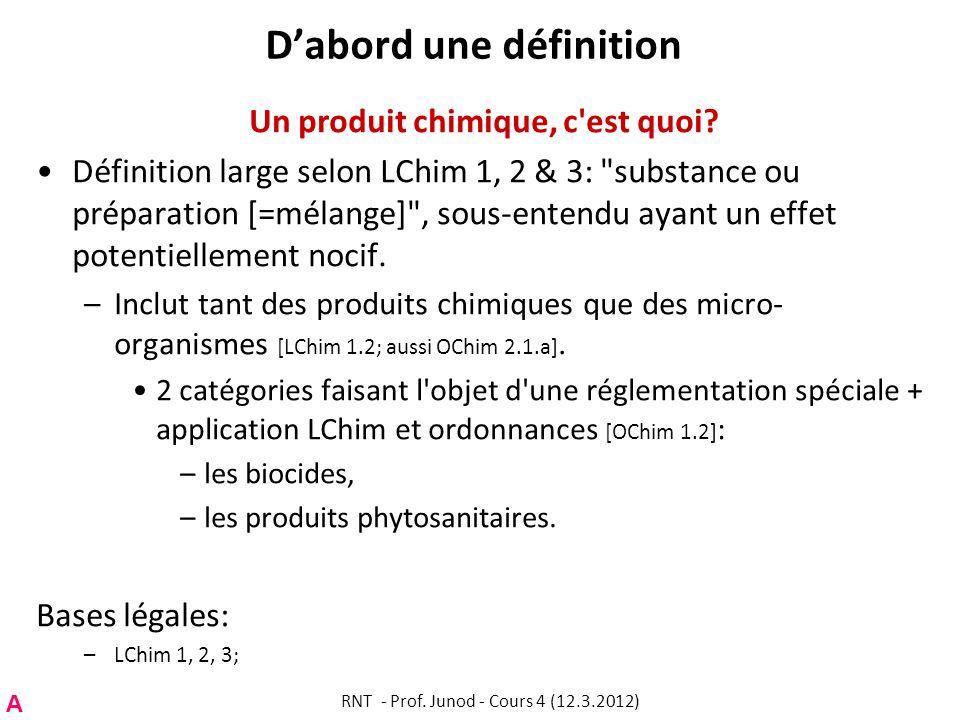 Dabord une définition Un produit chimique, c'est quoi? Définition large selon LChim 1, 2 & 3: