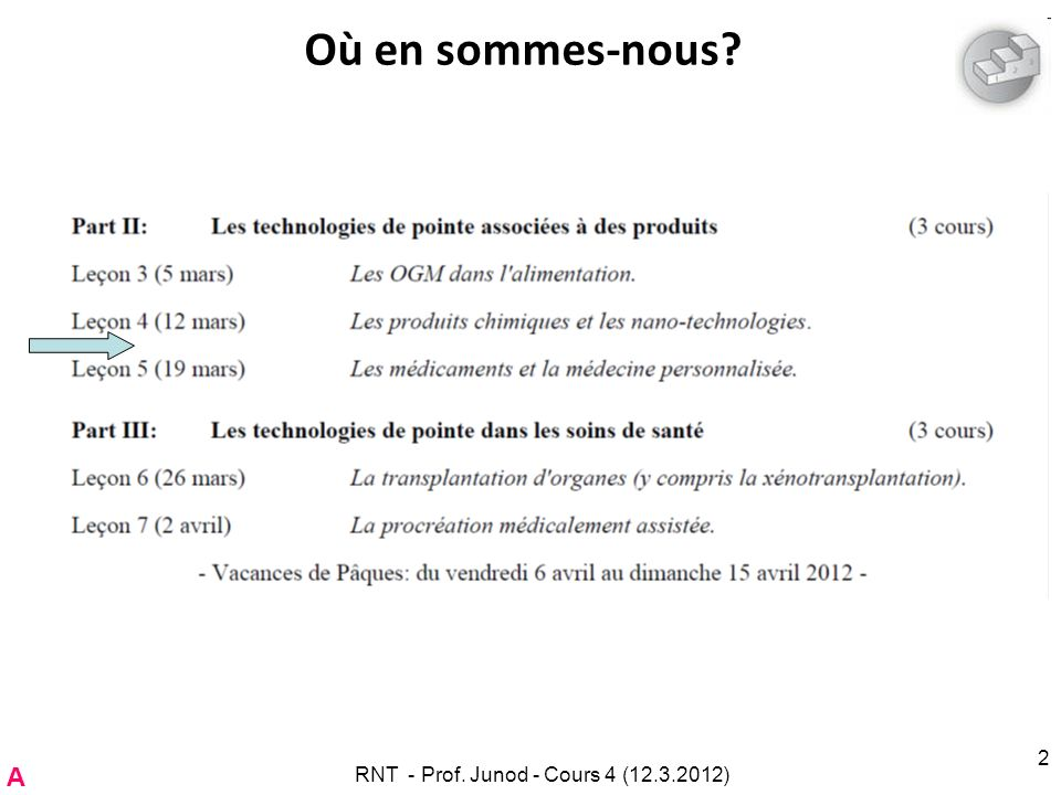 SECO RNT - Prof. Junod - Cours 4 (12.3.2012) 63 A
