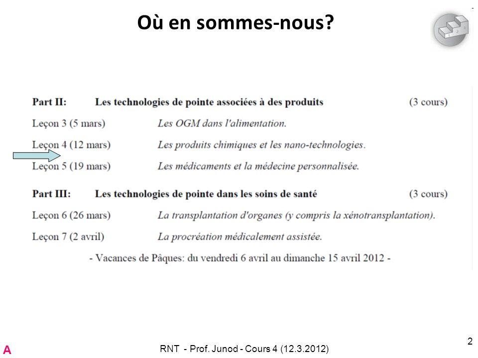RNT - Prof. Junod - Cours 4 (12.3.2012) 2 Où en sommes-nous? A