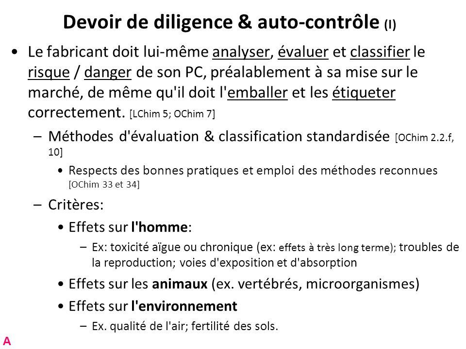 Devoir de diligence & auto-contrôle (I) Le fabricant doit lui-même analyser, évaluer et classifier le risque / danger de son PC, préalablement à sa mi