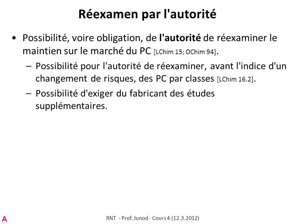 Réexamen par l'autorité Possibilité, voire obligation, de l'autorité de réexaminer le maintien sur le marché du PC [LChim 15; OChim 94]. –Possibilité