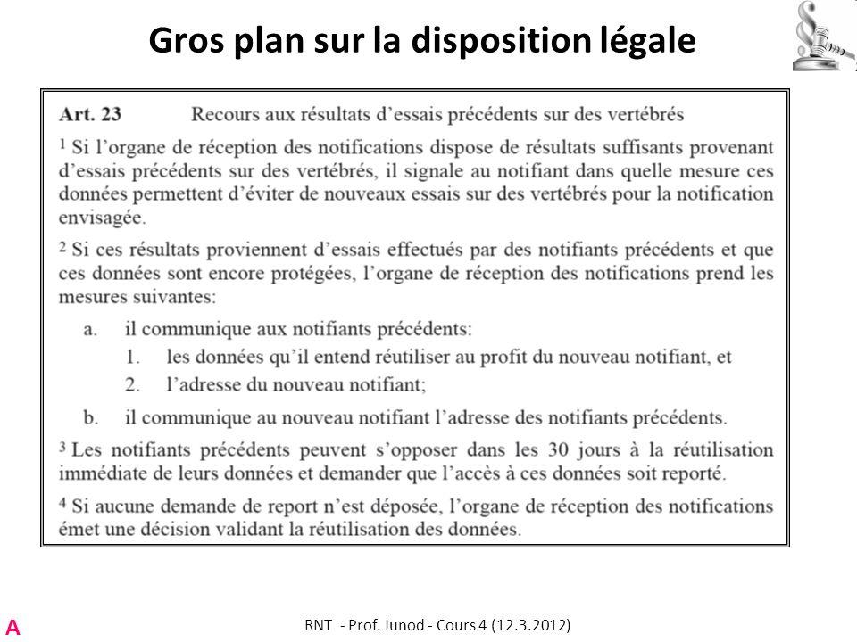 Gros plan sur la disposition légale A RNT - Prof. Junod - Cours 4 (12.3.2012)