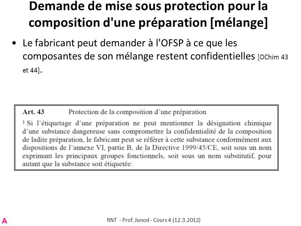 Demande de mise sous protection pour la composition d'une préparation [mélange] Le fabricant peut demander à l'OFSP à ce que les composantes de son mé