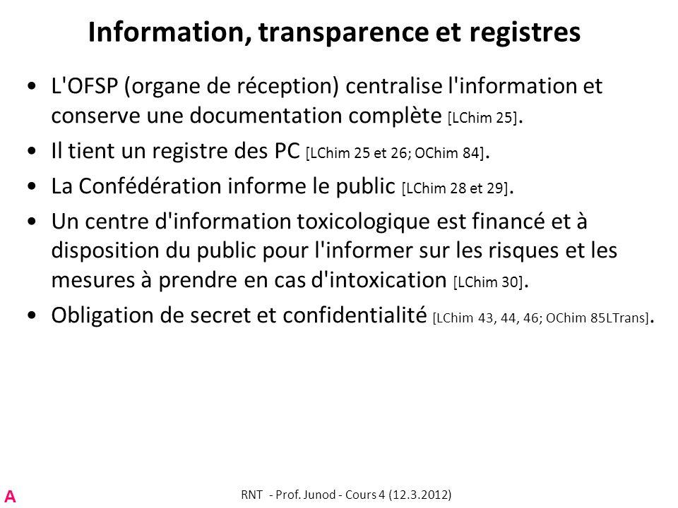 Information, transparence et registres L'OFSP (organe de réception) centralise l'information et conserve une documentation complète [LChim 25]. Il tie