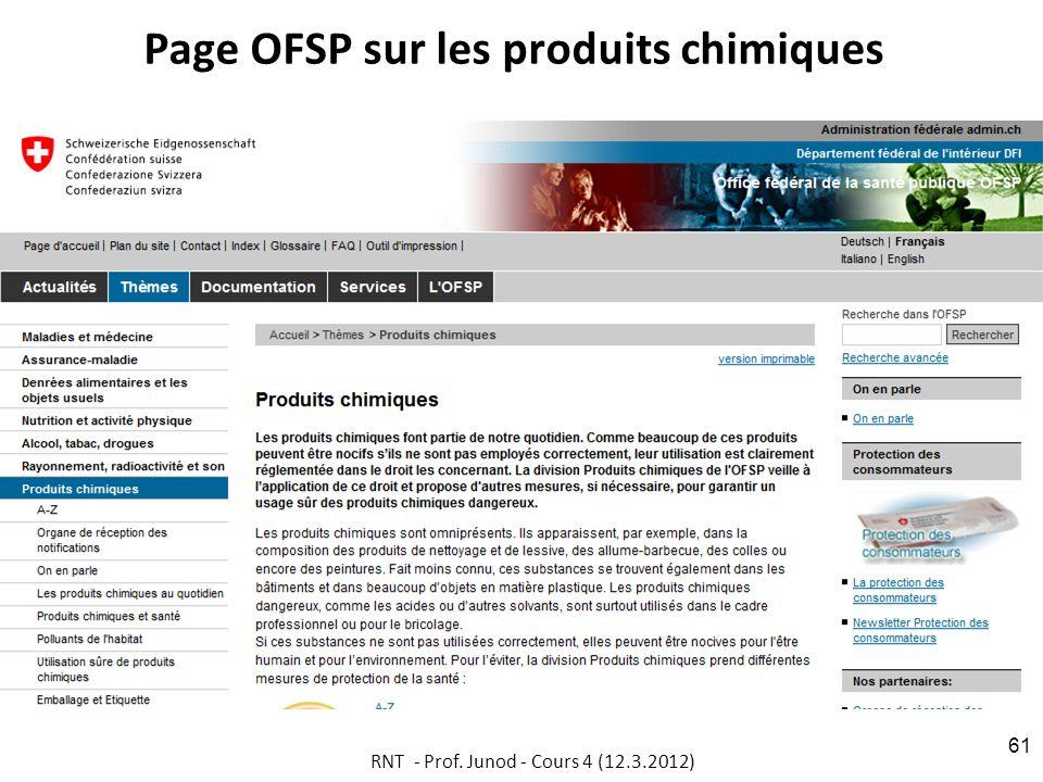 Page OFSP sur les produits chimiques RNT - Prof. Junod - Cours 4 (12.3.2012) 61