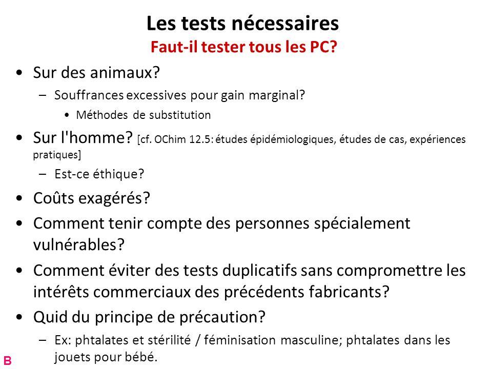 Les tests nécessaires Faut-il tester tous les PC? Sur des animaux? –Souffrances excessives pour gain marginal? Méthodes de substitution Sur l'homme? [