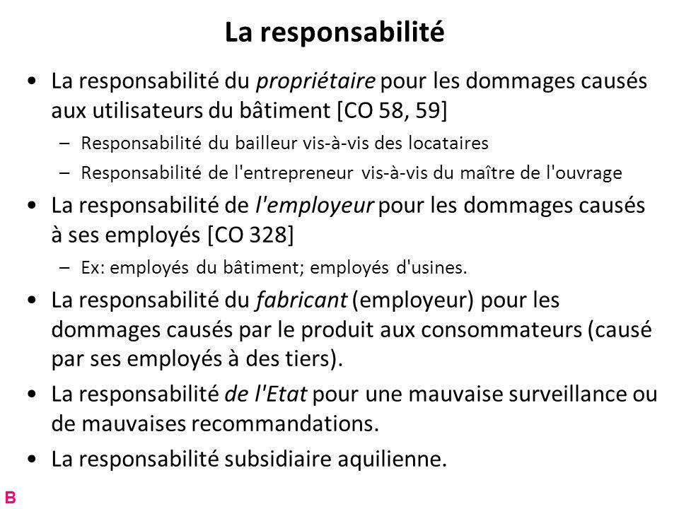 La responsabilité La responsabilité du propriétaire pour les dommages causés aux utilisateurs du bâtiment [CO 58, 59] –Responsabilité du bailleur vis-