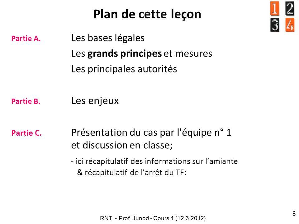 RNT - Prof. Junod - Cours 4 (12.3.2012) 8 Plan de cette leçon Partie A. Les bases légales Les grands principes et mesures Les principales autorités Pa