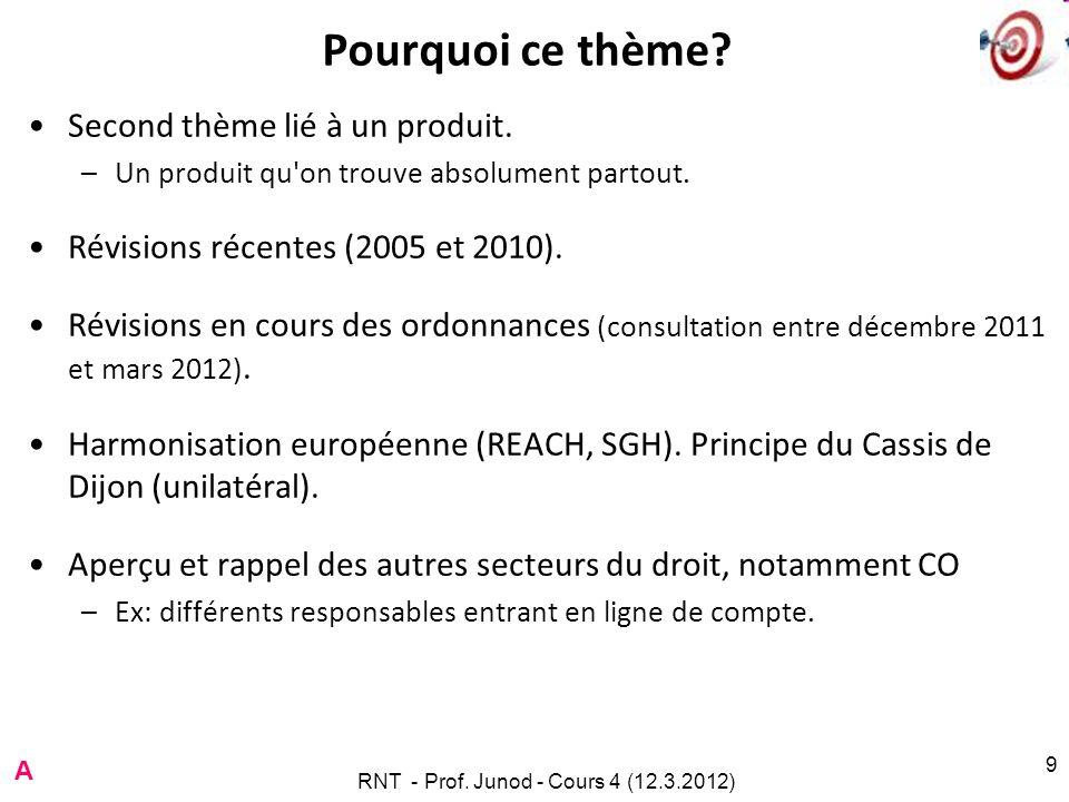 RNT - Prof. Junod - Cours 4 (12.3.2012) 9 Pourquoi ce thème? Second thème lié à un produit. –Un produit qu'on trouve absolument partout. Révisions réc