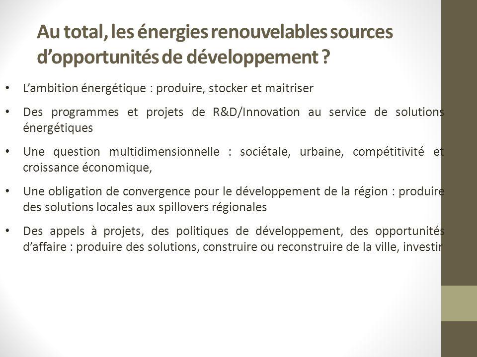 Au total, les énergies renouvelables sources dopportunités de développement .