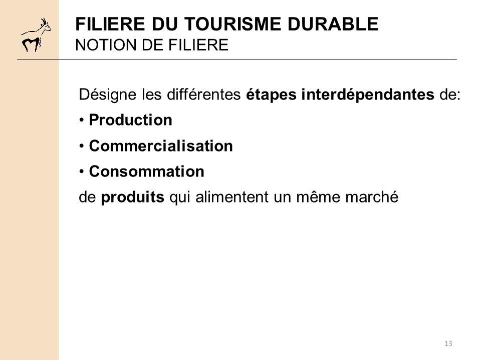 13 FILIERE DU TOURISME DURABLE NOTION DE FILIERE Désigne les différentes étapes interdépendantes de: Production Commercialisation Consommation de produits qui alimentent un même marché