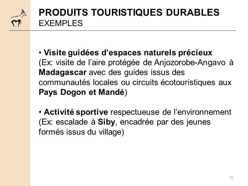 15 PRODUITS TOURISTIQUES DURABLES EXEMPLES Visite guidées despaces naturels précieux (Ex: visite de laire protégée de Anjozorobe-Angavo à Madagascar a