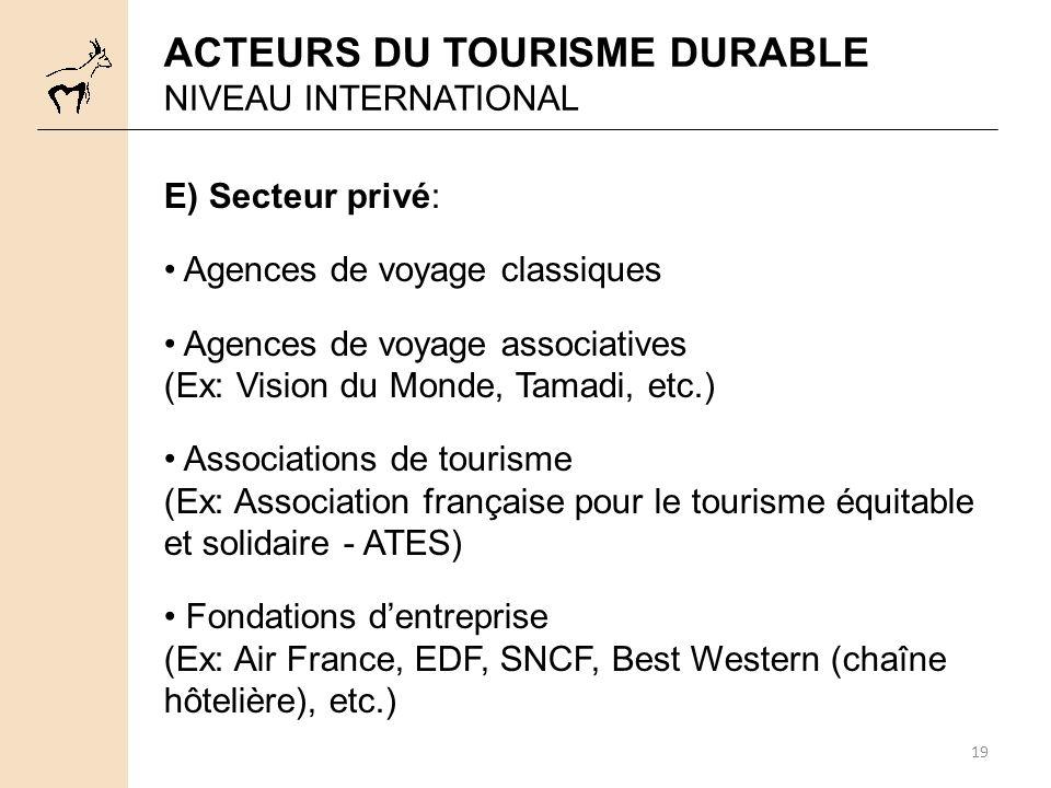 19 E) Secteur privé: Agences de voyage classiques Agences de voyage associatives (Ex: Vision du Monde, Tamadi, etc.) Associations de tourisme (Ex: Ass