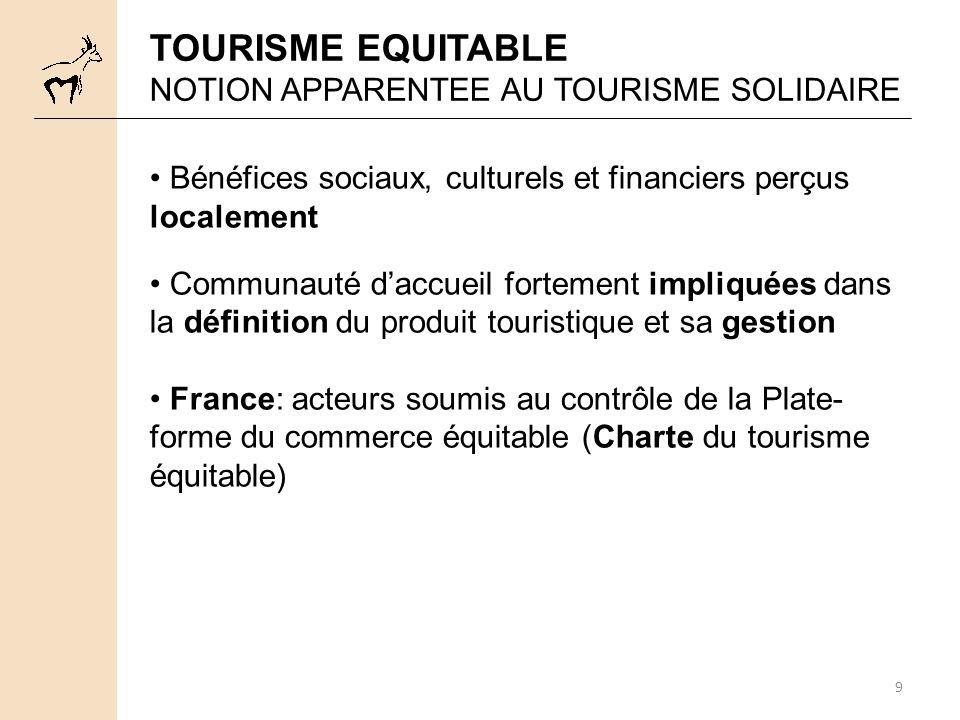 9 TOURISME EQUITABLE NOTION APPARENTEE AU TOURISME SOLIDAIRE Bénéfices sociaux, culturels et financiers perçus localement Communauté daccueil fortemen