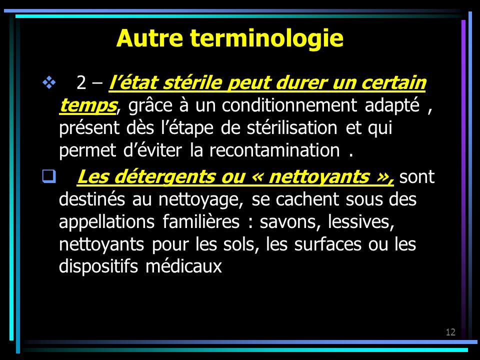 12 Autre terminologie 2 – létat stérile peut durer un certain temps, grâce à un conditionnement adapté, présent dès létape de stérilisation et qui per