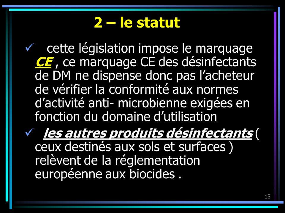 18 2 – le statut cette législation impose le marquage CE, ce marquage CE des désinfectants de DM ne dispense donc pas lacheteur de vérifier la conform