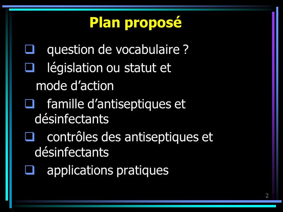 2 Plan proposé question de vocabulaire ? législation ou statut et mode daction famille dantiseptiques et désinfectants contrôles des antiseptiques et