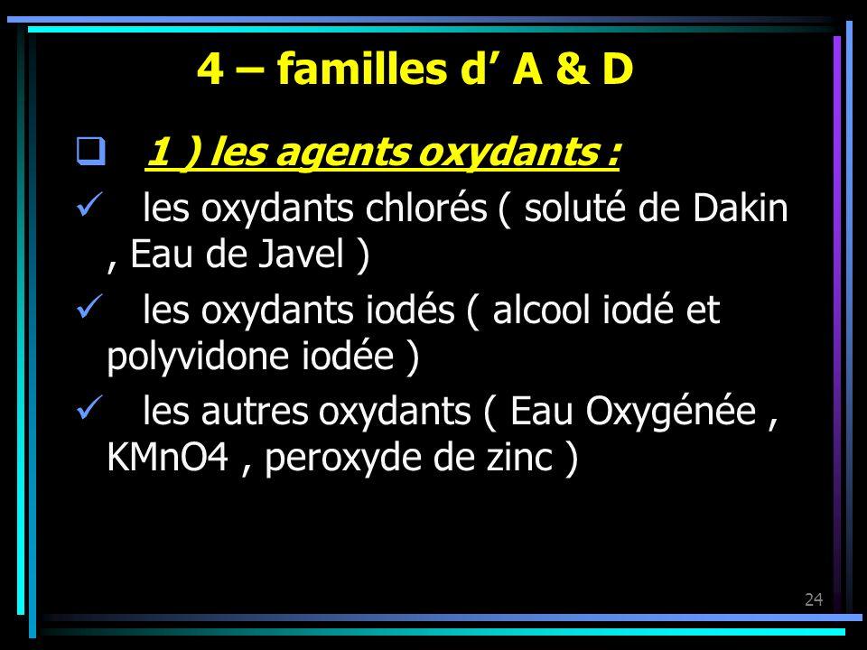 24 4 – familles d A & D 1 ) les agents oxydants : les oxydants chlorés ( soluté de Dakin, Eau de Javel ) les oxydants iodés ( alcool iodé et polyvidon