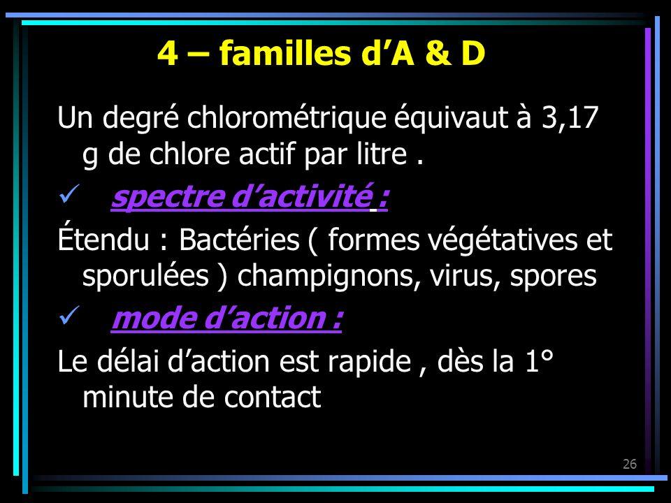 26 4 – familles dA & D Un degré chlorométrique équivaut à 3,17 g de chlore actif par litre. spectre dactivité : Étendu : Bactéries ( formes végétative
