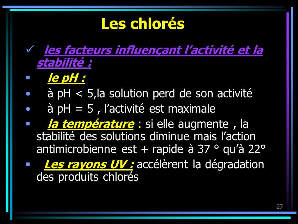 27 Les chlorés les facteurs influençant lactivité et la stabilité : le pH : à pH < 5,la solution perd de son activité à pH = 5, lactivité est maximale