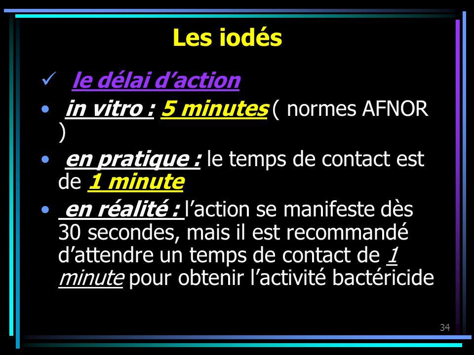 34 Les iodés le délai daction in vitro : 5 minutes ( normes AFNOR ) en pratique : le temps de contact est de 1 minute en réalité : laction se manifest