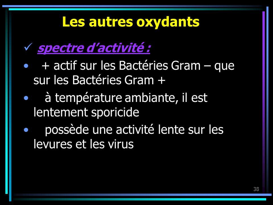 38 Les autres oxydants spectre dactivité : + actif sur les Bactéries Gram – que sur les Bactéries Gram + à température ambiante, il est lentement spor