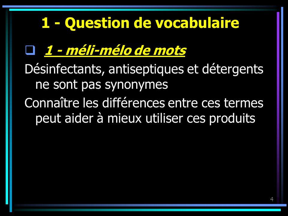 4 1 - Question de vocabulaire 1 - méli-mélo de mots Désinfectants, antiseptiques et détergents ne sont pas synonymes Connaître les différences entre c