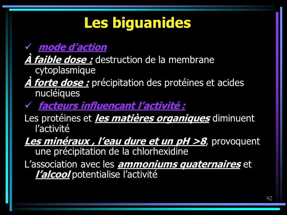 42 Les biguanides mode daction À faible dose : destruction de la membrane cytoplasmique À forte dose : précipitation des protéines et acides nucléique
