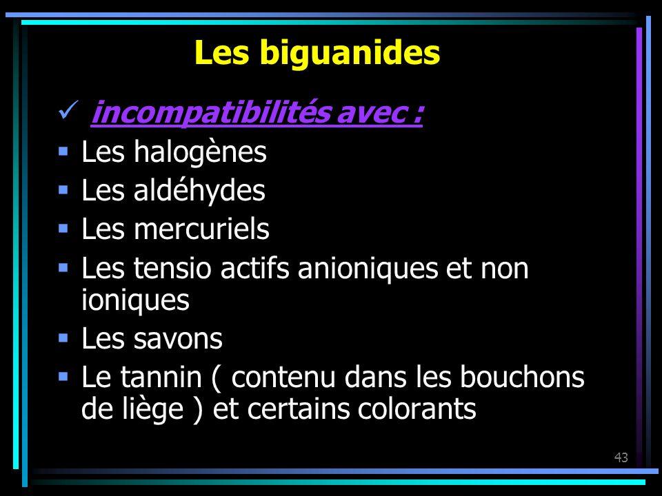 43 Les biguanides incompatibilités avec : Les halogènes Les aldéhydes Les mercuriels Les tensio actifs anioniques et non ioniques Les savons Le tannin