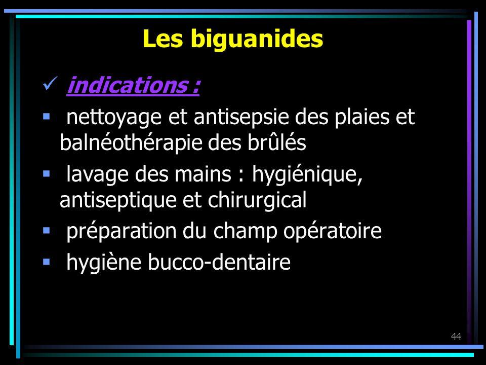 44 Les biguanides indications : nettoyage et antisepsie des plaies et balnéothérapie des brûlés lavage des mains : hygiénique, antiseptique et chirurg