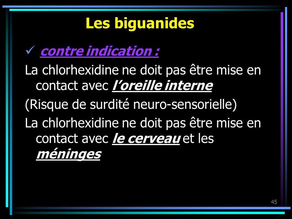 45 Les biguanides contre indication : La chlorhexidine ne doit pas être mise en contact avec loreille interne (Risque de surdité neuro-sensorielle) La