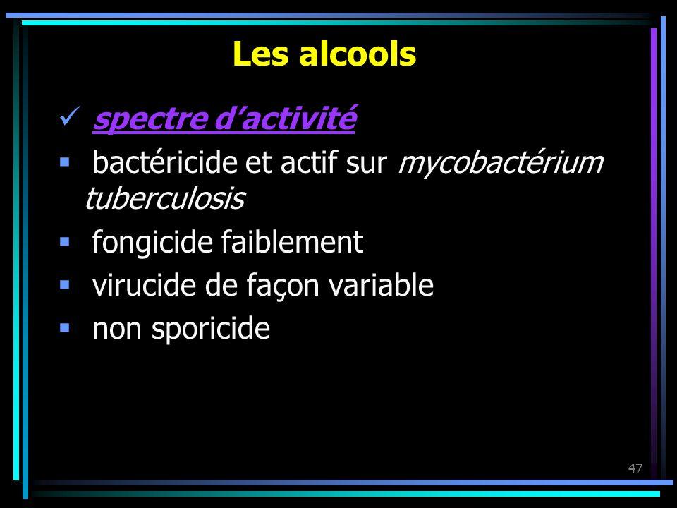 47 Les alcools spectre dactivité bactéricide et actif sur mycobactérium tuberculosis fongicide faiblement virucide de façon variable non sporicide
