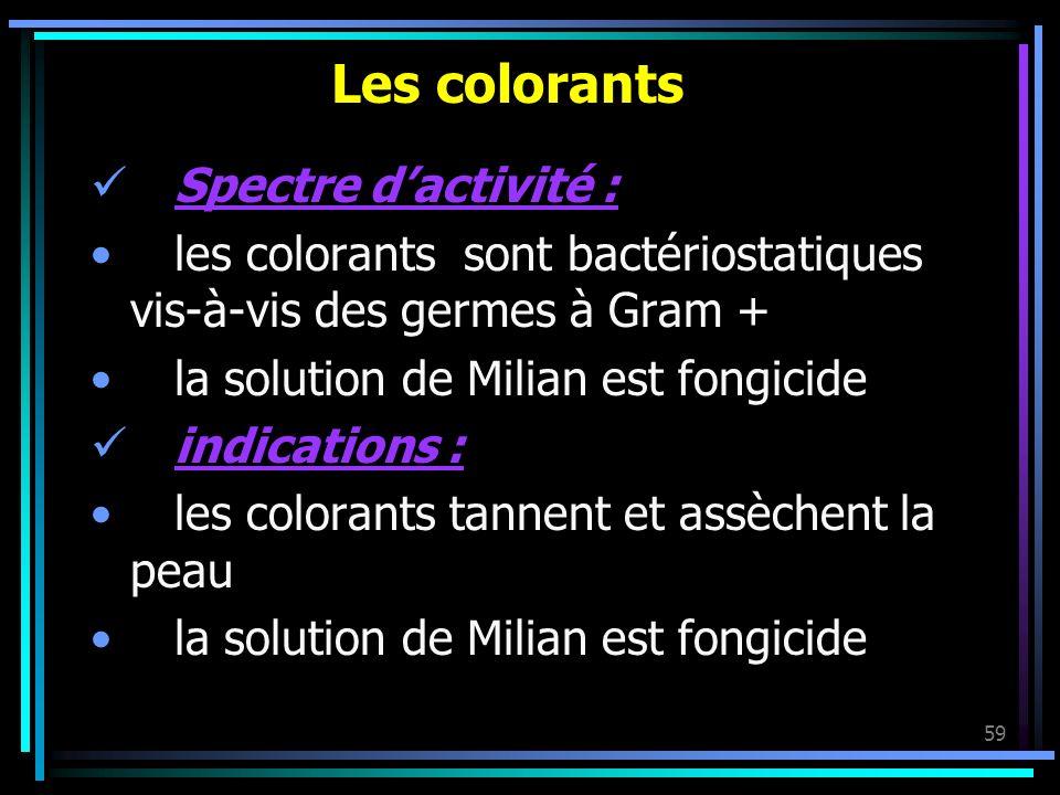 59 Les colorants Spectre dactivité : les colorants sont bactériostatiques vis-à-vis des germes à Gram + la solution de Milian est fongicide indication