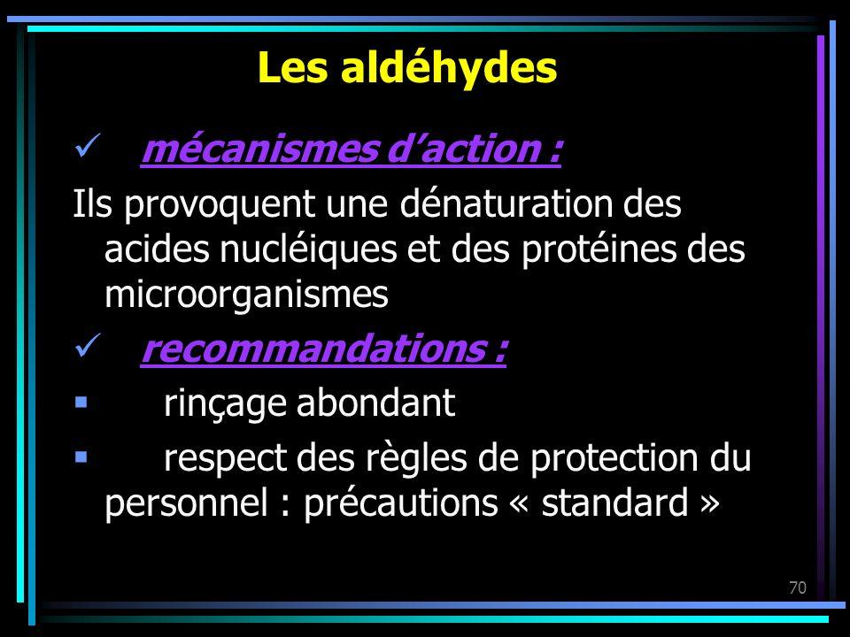 70 Les aldéhydes mécanismes daction : Ils provoquent une dénaturation des acides nucléiques et des protéines des microorganismes recommandations : rin