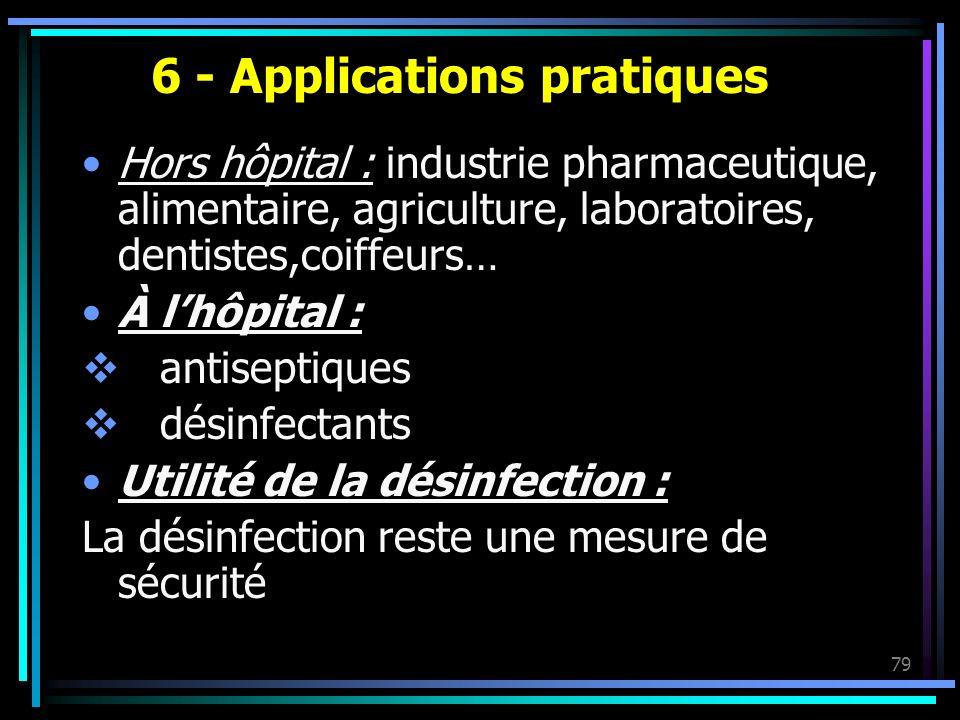 79 6 - Applications pratiques Hors hôpital : industrie pharmaceutique, alimentaire, agriculture, laboratoires, dentistes,coiffeurs… À lhôpital : antis
