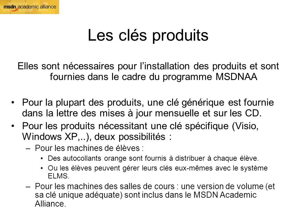 Les clés produits Elles sont nécessaires pour linstallation des produits et sont fournies dans le cadre du programme MSDNAA Pour la plupart des produi