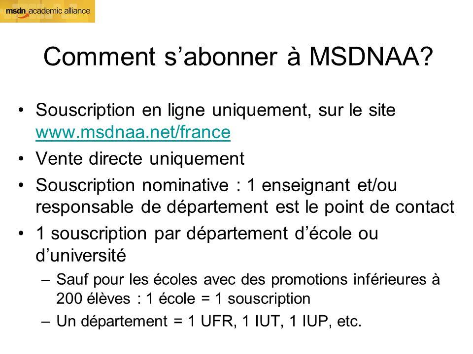 Comment sabonner à MSDNAA? Souscription en ligne uniquement, sur le site www.msdnaa.net/france www.msdnaa.net/france Vente directe uniquement Souscrip