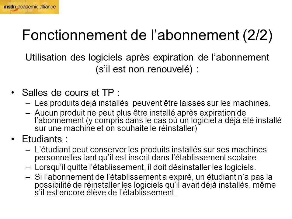 Fonctionnement de labonnement (2/2) Utilisation des logiciels après expiration de labonnement (sil est non renouvelé) : Salles de cours et TP : –Les p
