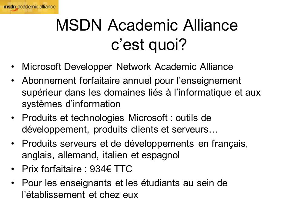 MSDN Academic Alliance cest quoi.