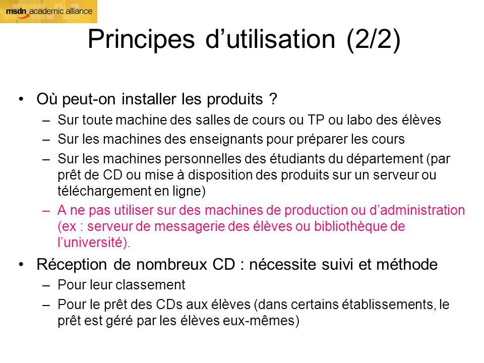 Principes dutilisation (2/2) Où peut-on installer les produits ? –Sur toute machine des salles de cours ou TP ou labo des élèves –Sur les machines des