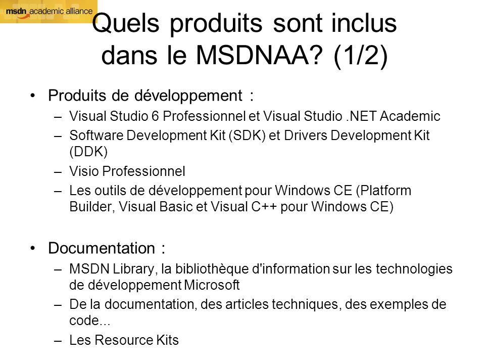 Quels produits sont inclus dans le MSDNAA? (1/2) Produits de développement : –Visual Studio 6 Professionnel et Visual Studio.NET Academic –Software De