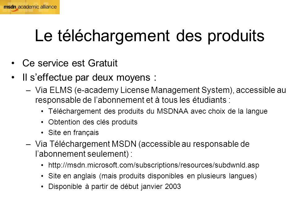 Le téléchargement des produits Ce service est Gratuit Il seffectue par deux moyens : –Via ELMS (e-academy License Management System), accessible au re