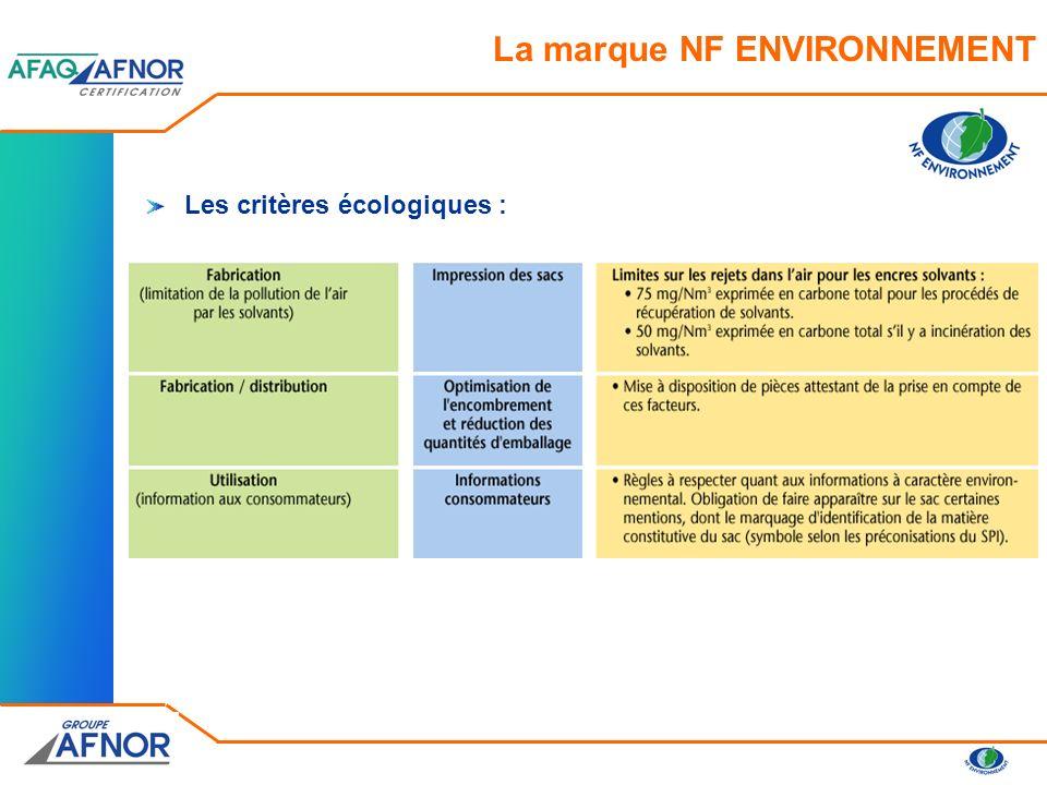 Les critères de performance: La marque NF ENVIRONNEMENT