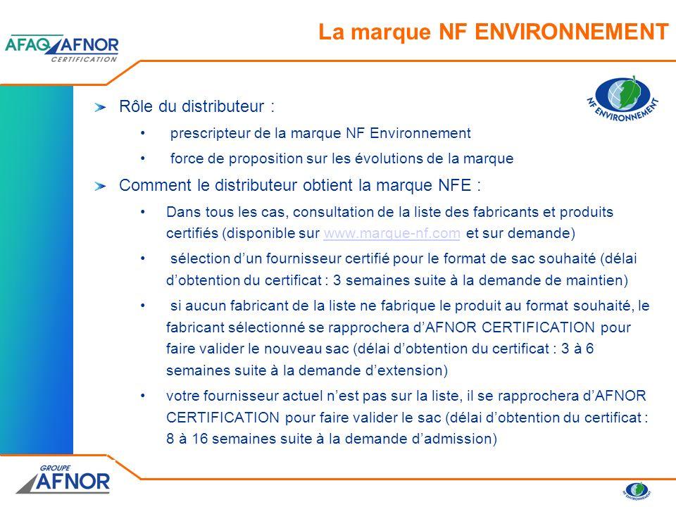 Processus de certification du sac du distributeur : le demandeur ou titulaire de la marque NFE fait une demande de maintien de droit dusage pour la marque du distributeur.