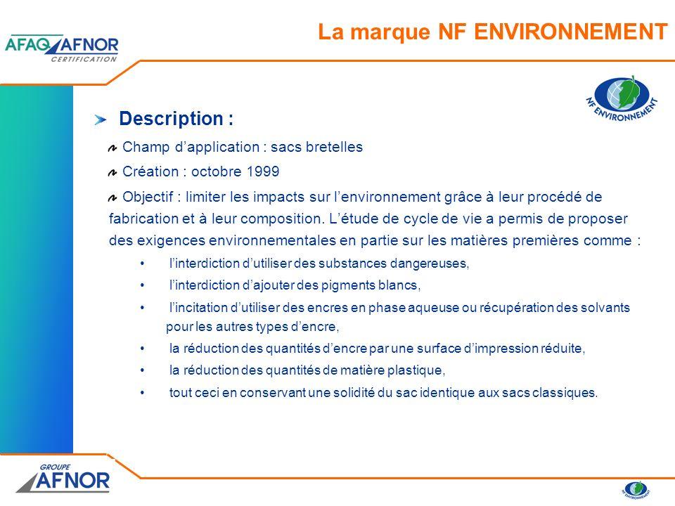 Référentiel de certification NF 299 : Norme NF H34-010 sur les sacs à bretelles Critères écologiques Critères daptitude à lemploi (normes dessais) Règles de certification Caractéristiques certifiées : résistance limitation des impacts sur lenvironnement, grâce au procédé de fabrication et à la composition La marque NF ENVIRONNEMENT
