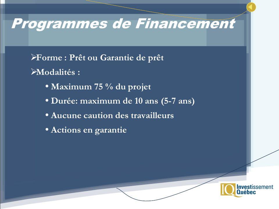 Programmes de Financement Forme : Prêt ou Garantie de prêt Modalités : Maximum 75 % du projet Durée: maximum de 10 ans (5-7 ans) Aucune caution des tr