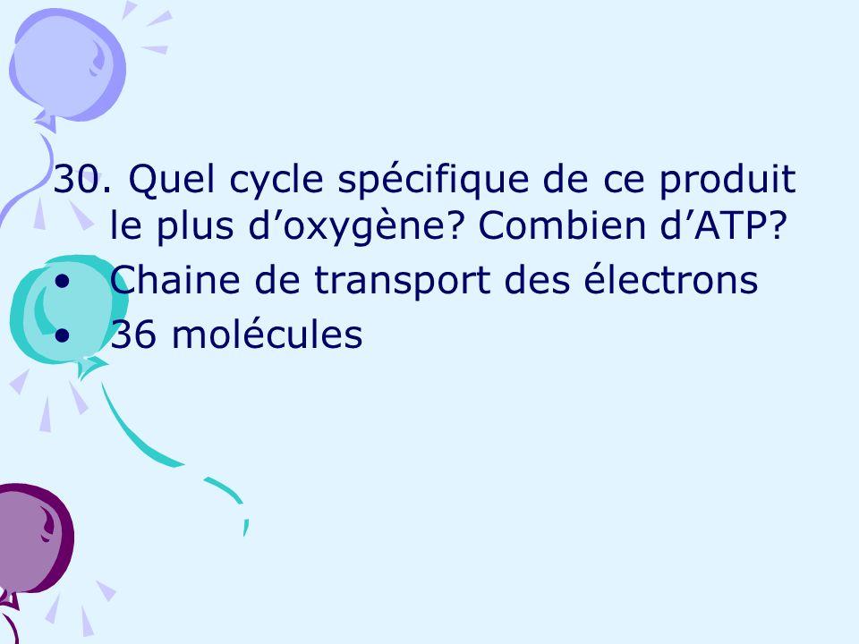 30. Quel cycle spécifique de ce produit le plus doxygène? Combien dATP? Chaine de transport des électrons 36 molécules